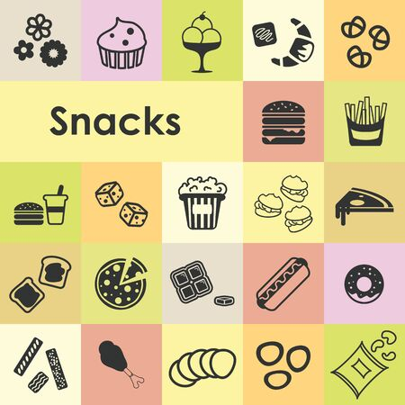 vector illustration of snacks icons set with more than twenty fast food symbols like cookies popcorn sandwich pizza ice cream cupcake fries nuts