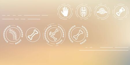vector illustration / medical symptoms and  disorders icons set / joints and bones icons on blurry background / horizontal banner Çizim