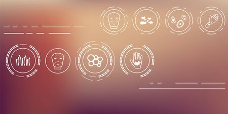 vector illustration / dermatological symptoms / skin problems and disorders icons set on unfocused background / horizontal banner