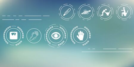 vector illustration / general medical symptoms and health problems icons set on blurry bokeh background / horizontal banner