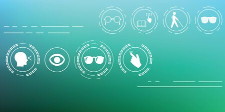 vector illustration  healthy vision icons  eye problems and vision tests with glasses and lenses on blurred background  horizontal banner