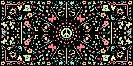 vector illustration of kaleidoscopic geometric horizontal banner with hippie symbols and dark background Ilustrace