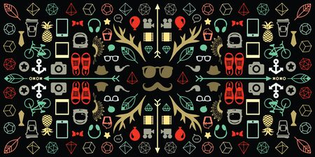 vector illustration of kaleidoscopic geometric horizontal banner with hipster symbols and dark background Ilustrace