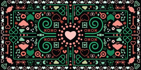 vector illustration of kaleidoscopic geometric horizontal banner with romantic symbols and dark background