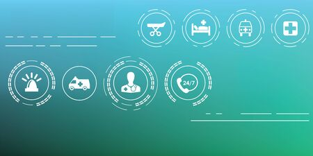 vector illustration  medical and ambulance icons set on blurry background  horizontal banner Ilustrace