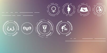 vector illustration  pregnancy icons set on blurry background  horizontal banner