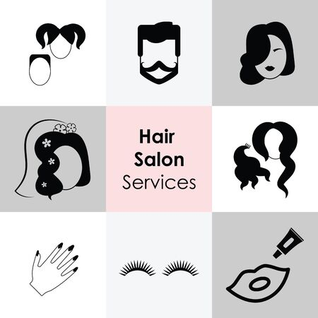 vector illustration of hair salon services for women kids and men