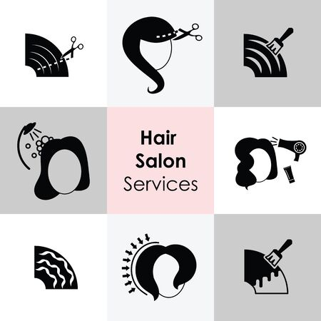 vector illustration of hair salon services for women