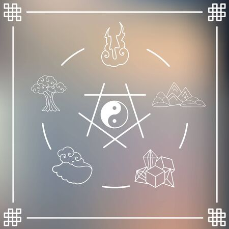 vector illustration of circle of  main natural elements in round shape design in asian art style with ying yang symbol in the middle