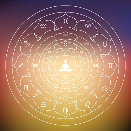 vector illustration of  zodiac and planets symbols in round shape design with yoga lotus posture meditating person in the middle