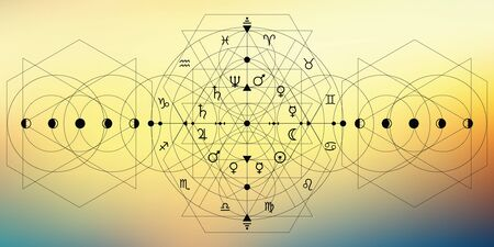 vector illustration of  zodiac and planets symbols in geometric design with blurry soft background