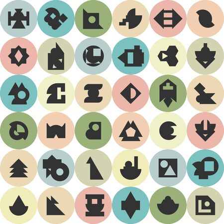 vector illustration of various geometrical shapes in circles for modern graphic backgrounds