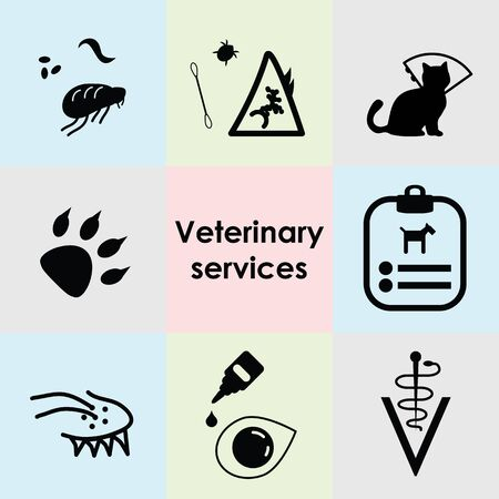 vector illustration of veterinary services icons set