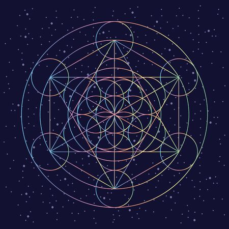 vector illustration of ancient sacred geometry symbol flower of life in spectrum colors on night sky background 免版税图像 - 134551770