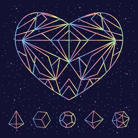 vector illustration of colorful polygonal heart as spiritual element for cosmic love concepts for Valentines Day design Ilustrace