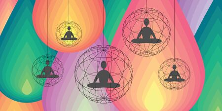vector illustration of horizontal banner with meditating people on colorful background