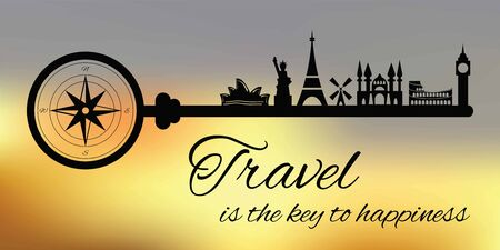 vector illustration of key with landmarks with phrase Travel is the key to happiness in vintage retro style on abstract blurry background