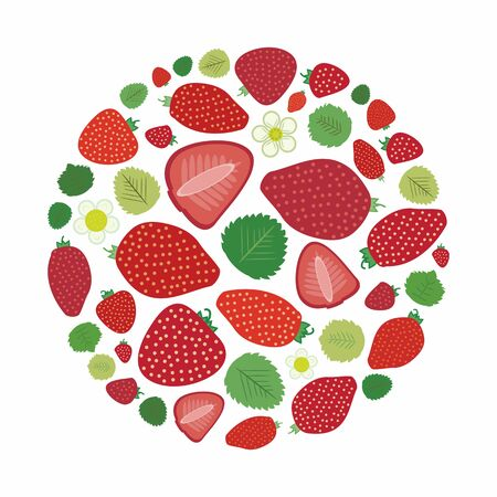 vector illustration of strawberries in circle shape design