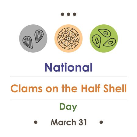 vector illustration for clams on the half shell day in March