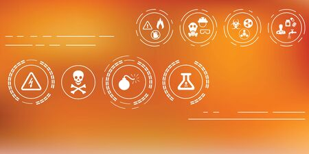 vector illustration of hazardous items icons for warning  concepts on abstract blurry background