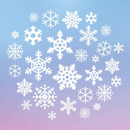 vector illustration of  snowflakes in circle shape design on blurred modern background