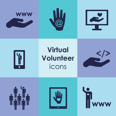 vector illustration of virtual volunteering icons for remote assisting and internet social activity concepts