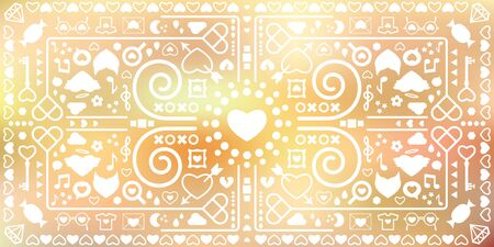 vector illustration of kaleidoscopic geometric horizontal banner with romantic symbols and soft blurred background