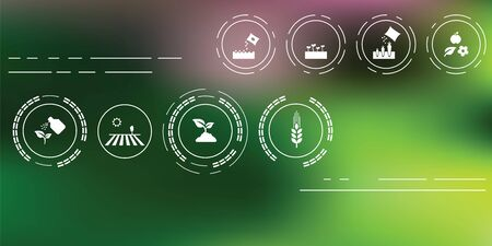 vector illustration of agriculture icons for farming and gardening concepts on abstract blurry background Illustration