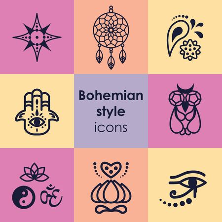 vector illustration of  bohemian style symbols  Ilustrace