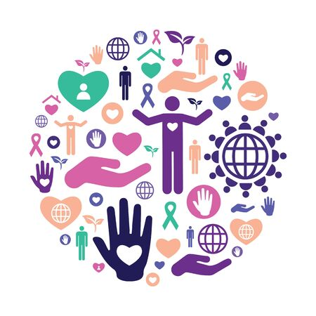 vector illustration of charity icons for help and care in circle shape