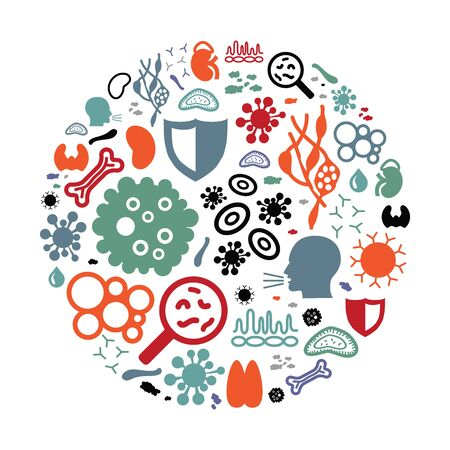 vector illustration of immune system icons in circle shape design