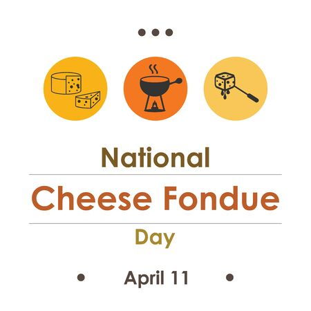 vector illustration for National Cheese Fondue Day in April