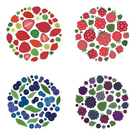 vector illustration of  four types of berries blueberries strawberries raspberries and blackberries in circle shape design on abstract blurry background Illustration