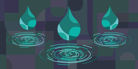 vector illustration of rain drops with concentric circles on dark blue background