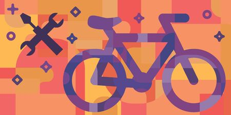 vector illustration of  horizontal banner with bicycle and repair tools in geometric flat style design Illustration