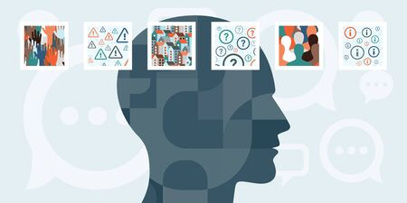 vector illustration of  human head silhouette with abstract pictures around for think and mental process concepts