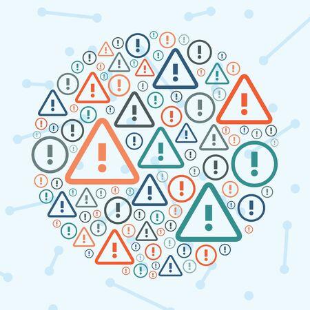 vector illustration of  attention marks in circle shape design  Illustration