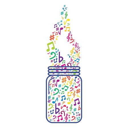 vector illustration of jar with colorful musical notes in wave shape for audio media concepts and designs