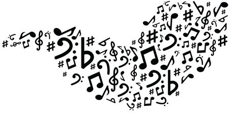 vector illustration of river or stream with musical notes in black and white colors audio media concepts and designs