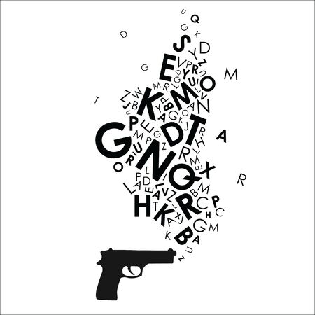 vector illustration of alphabet letters coming out of gun design for journalism as powerful weapon concept