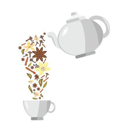 vector illustration of spices flowing from teapot for tea flavors concepts Ilustração
