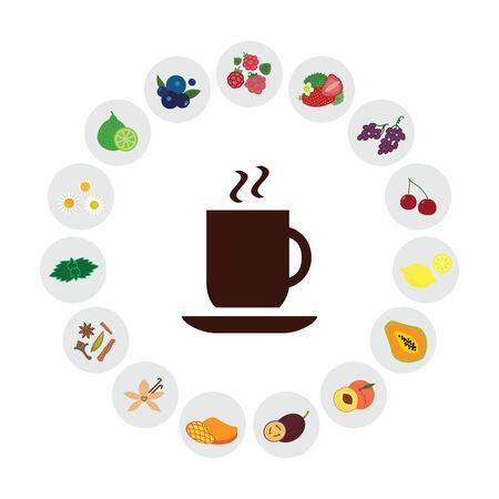 vector illustration of different tastes and flavors selection for tea Ilustrace