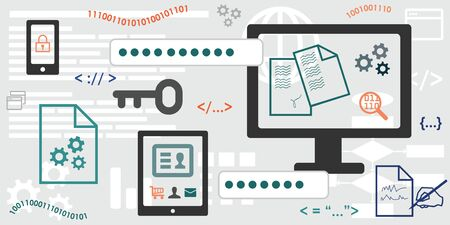 vector illustration of horizontal banner for electronic signature concepts Ilustração Vetorial