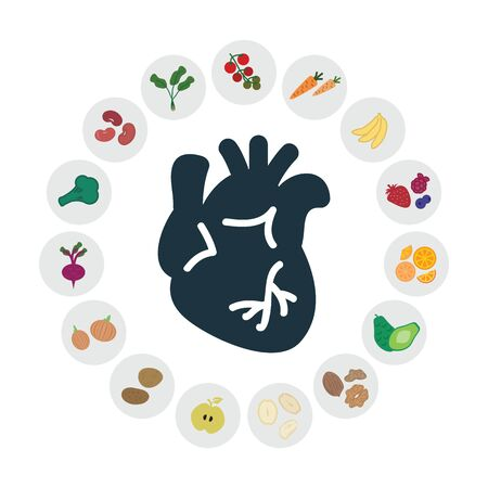 vector illustration of healthy foods for heart and cardiovascular system