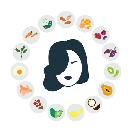 vector illustration of healthy foods for skin and hair