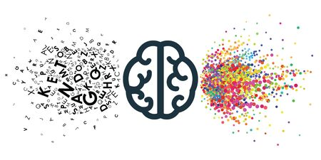 vector illustration of two pars of brain verbal and creative for thinking style concepts Vettoriali