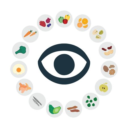 vector illustration of healthy foods for eyes and sight