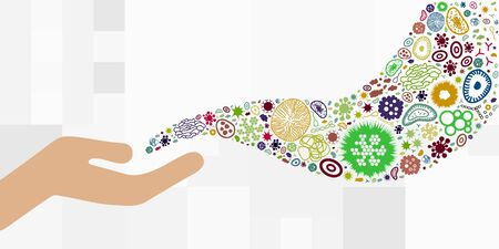 vector illustration of hand with bacteria viruses and microbes spreading around