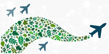 vector illustration of biofuel concept with green leaves and flying planes