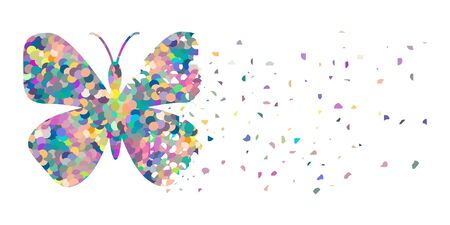 vector illustration of butterfly breaking into small pieces for dreamy and fragile object visual